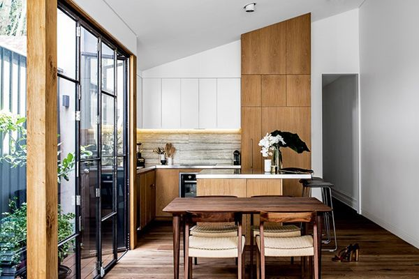 kitchen + timber + steel + raked sloping ceiling cathedral