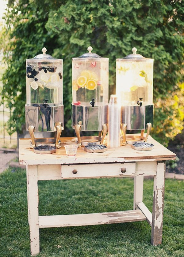 Use an antique desk as a drink station for a vintage vibe. | Mary Kay
