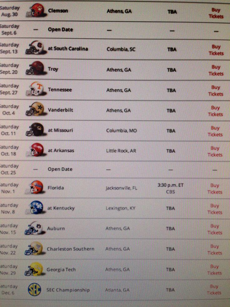 2014 Georgia Football Schedule
