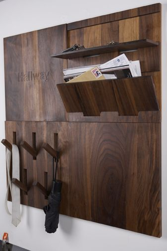 UtiliTILE Hallway - series of wall tiles provide specific storage function for the hallway or entryway | by Thout