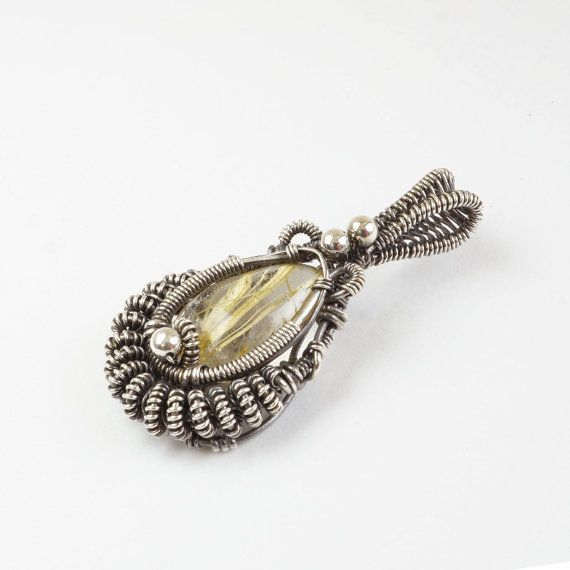 Golden Rutilated Quartz Sterling silver 925 pendant