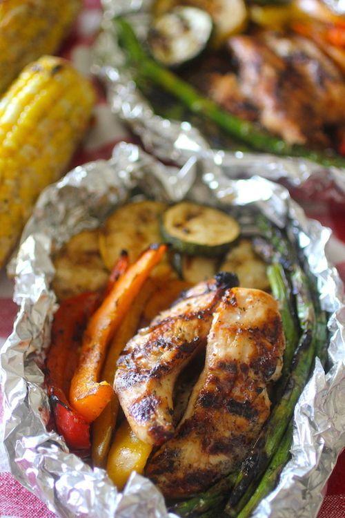Grilled balsamic chicken vegetable foil pack foil for Chicken and vegetables in foil packets recipe