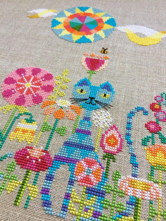 Garden Cat modern cross stitch pattern PDF by SatsumaStreet