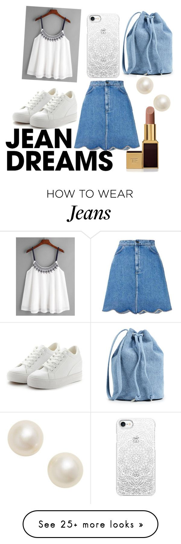 """jeans skirts"" by isaflyingpigs on Polyvore featuring diverse, BAGGU, Casetify, Poppy Finch, Tom Ford and denimskirts"