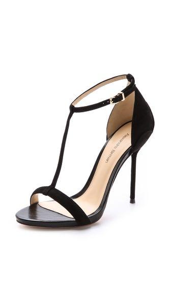 The perfect black sandal. Alexandre Birman Suede T Strap Sandals.