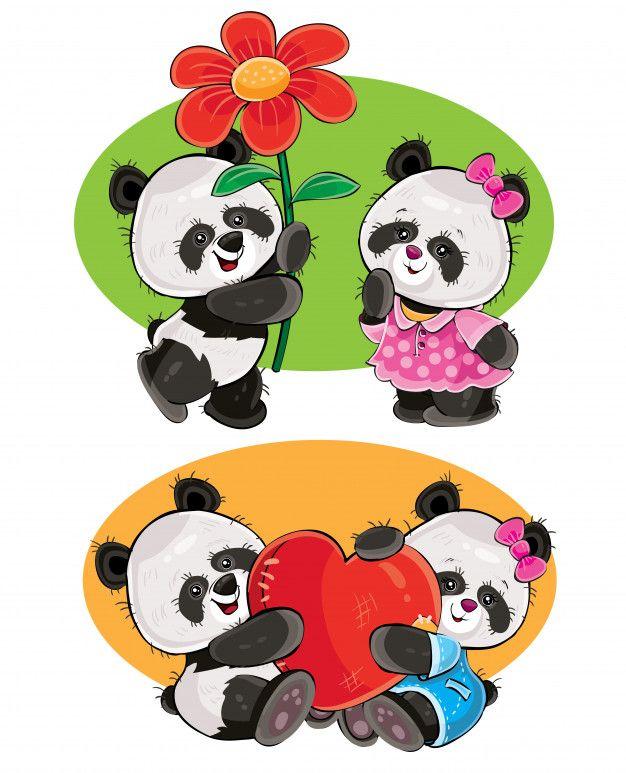 Conjunto De Dibujos Animados Con Un Par De Osos Panda En El Amor