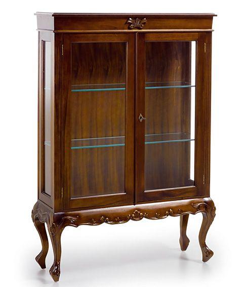 Vitrina baja de caoba 2 puertas material madera de caoba for Vitrinas de madera para comedor
