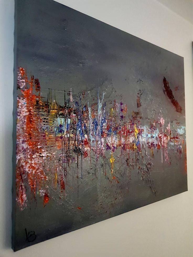 Mehrfarbige abstrakte Malerei mit Entlastung. Lein…