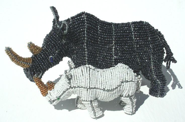 Black and White Beaded Rhinos