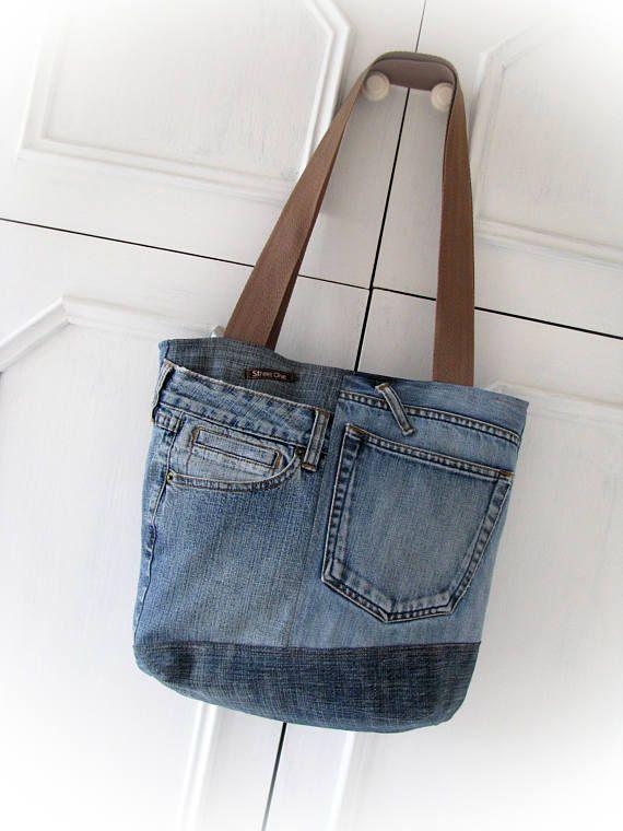 Denim bag Jeans bag Patchwork bag Handmade bag Recycled jeans