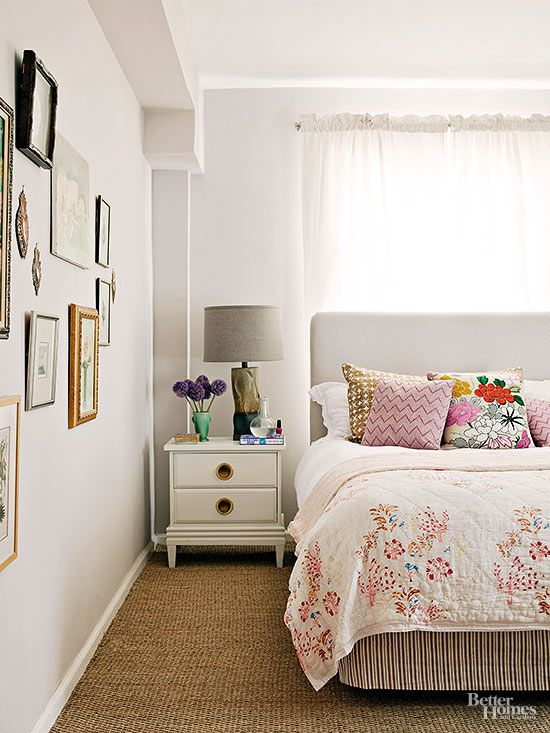 DON'T Be Afraid to Put Your Bed In Front of a Window Sometimes, in a small room, it's the only option if you want to also squeeze in dressers and nightstands. Plus, placing your bed in front of a window can create a super-strong focal point