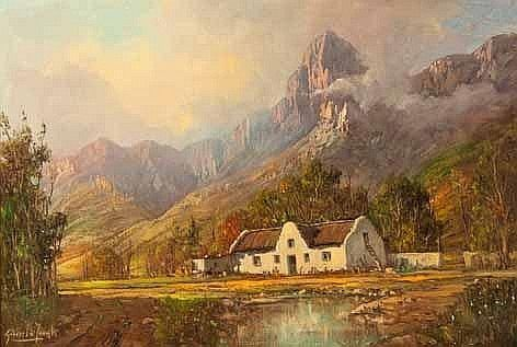 COTTAGES BELOW MOUNTAIN by Gabriel Cornelis de Jongh
