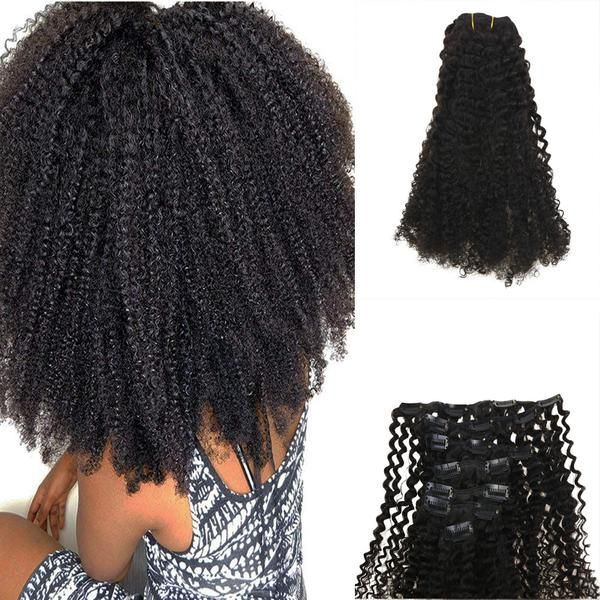 120g Clip In Afro Curly Off Black #1B Brazilian Remy Human Hair Extension(#1B Afro Curly