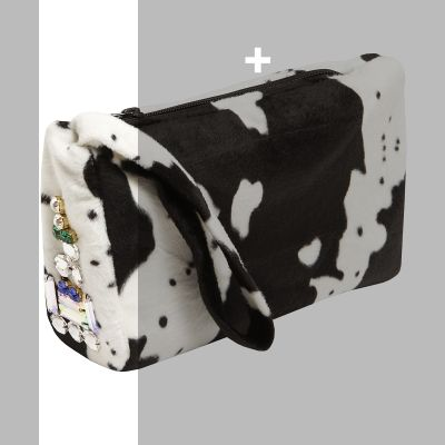 ACCESORIES    C-THROU | Cow Print Crystal-Embellished Clutch  +CLUTCH +CRYSTAL-EMBELLISHED +DRY CLEAN ONLY +MADE IN GREECE