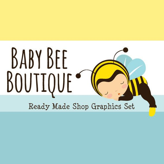 Baby Bee Shop Banners Avatar Icons Business Card by CyanSkyDesign - #etsy #shop #graphics #banners #design #marketing #branding #baby #bee #nursery #sewing #boutique #infants