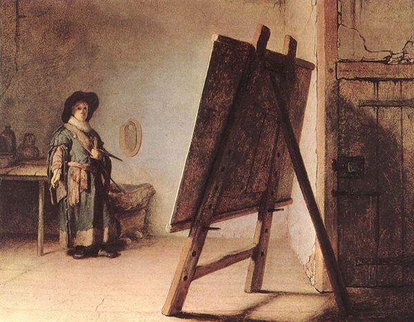 Rembrandt - Autoportrait avec chevalet