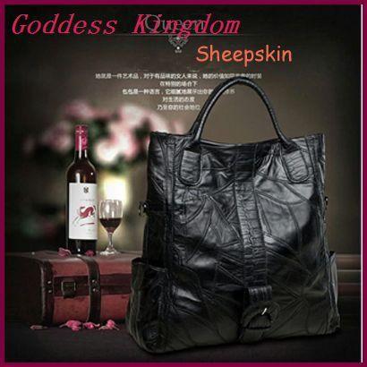 Овчина женщины плечо сумки черный свободного покроя сумочка натуральная кожа большие сумки A6013