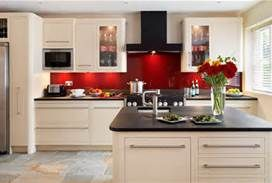 cream with red back splash, could be very nice too