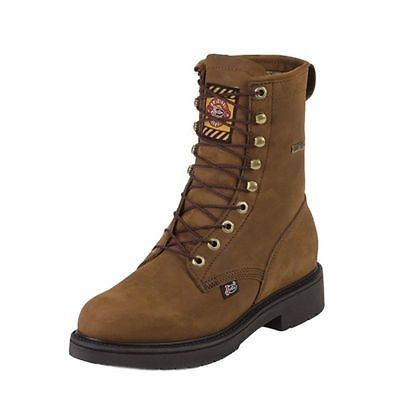 Justin Work Boots Mens Gore-Tex Lace Up Round Toe Aged Bark 604
