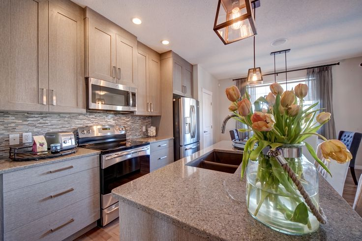 Kitchen design from our Brandt showhome in Canals Landing, Airdrie.