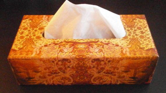 Tissue box paper napkin holder oriental asian India gold Buddha face orange red ornament  wood decoupage decorative  keepsake Valentine gift
