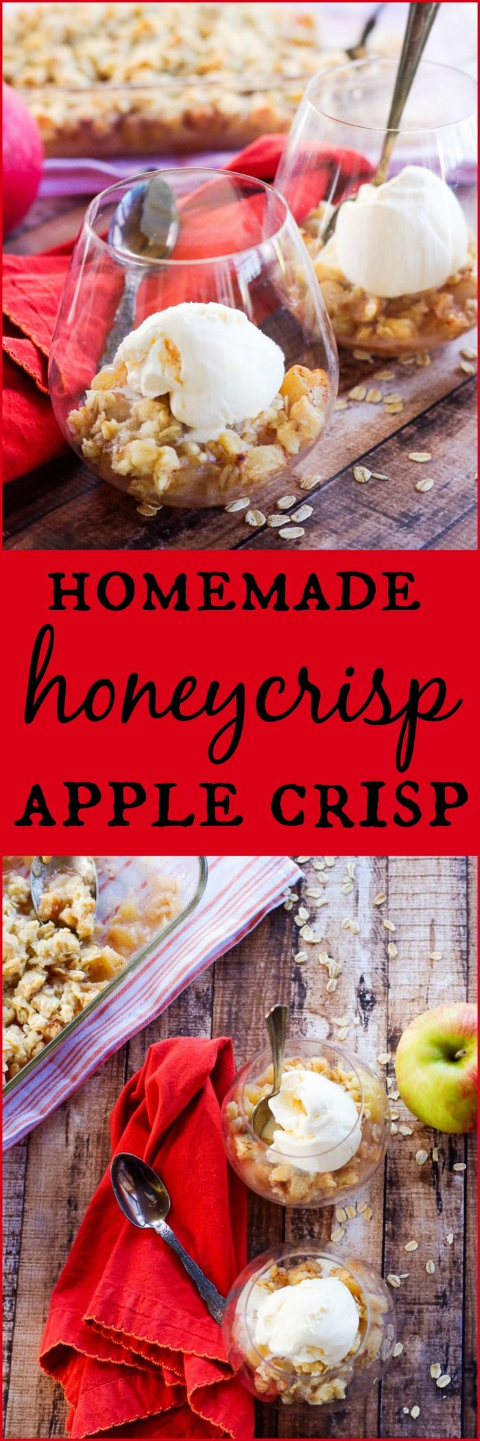 Homemade Honeycrisp Apple Crisp | www.homeandplate.com | The apples are warm and soft and the topping is sweet and crunchy. Enjoy this delicious fall dessert today.