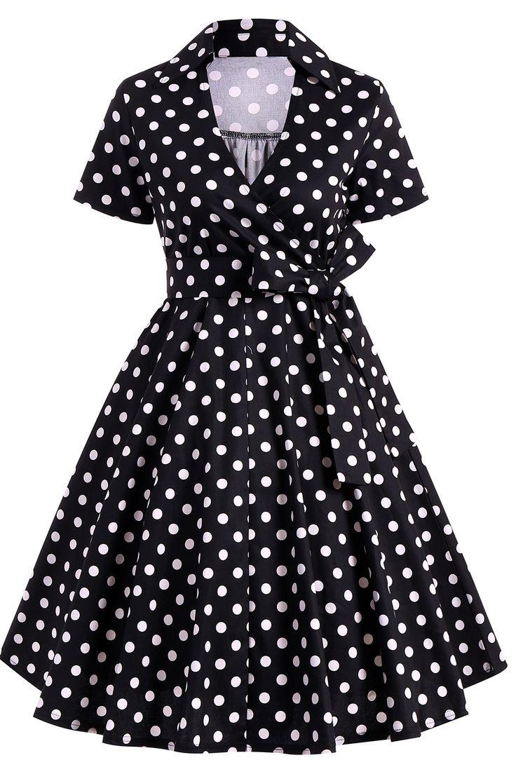 $24.59 Retro Hepburn Style Polka Dot Bowknot Belted Wrap Dress