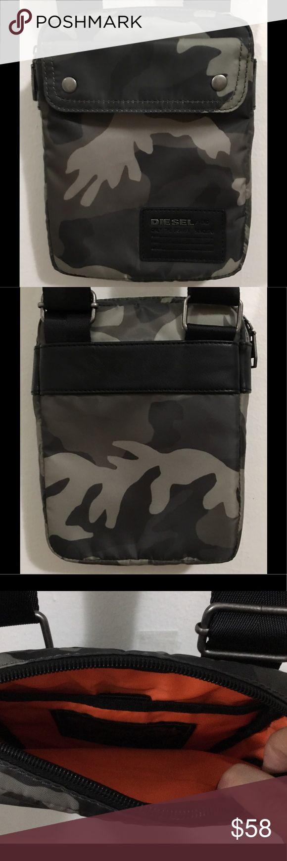 Diesel Flight Bag Popular Diesel Cross Body Bag, Durable Fabric Outer, Adjustable Shoulder Strap, Zip Top Closure, Black/Grey Camo, 99%Polyster, Almost New, 2Times used Diesel Bags Crossbody Bags