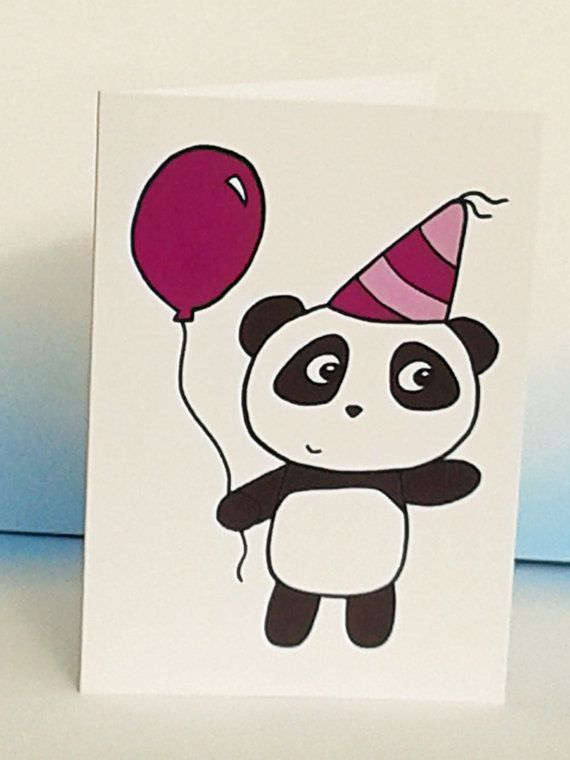 Panda Birthday Card Cute Panda Card Party by penguinparadeshop