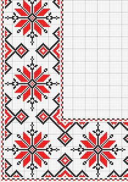 Black and Red Star corner Embroidery
