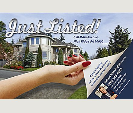 just listed postcards for realtors