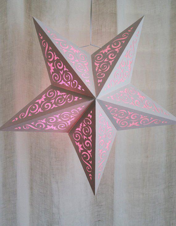 Paper Star Lantern W Scroll Cutouts Svg Cutting File Pdf Special