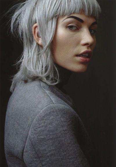 Grey blue / silver hair. Short hair