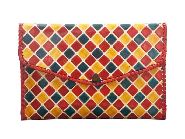 山羊革 財布パース (カラフル)*-* 平和と自立への願いと共に広まった *-*     インド伝統の山羊革工芸品【楽天市場】