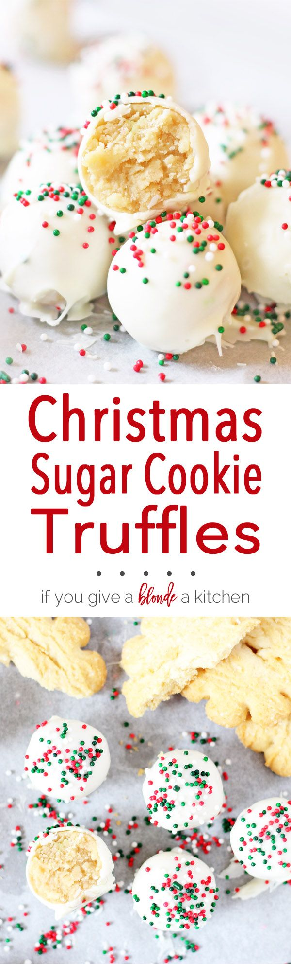 Sugar cookie truffles are a must-try this Christmas. It's a no-bake recipe that uses sugar cookies, cream cheese, white chocolate and sprinkles! | www.ifyougiveablondeakitchen.com (No Bake Chocolate Desserts)
