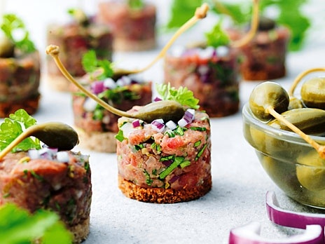 Bite-Sized Steak Tartare w/ Caperberry Garnish - recipe is in Swedish - use google to translate..!!!