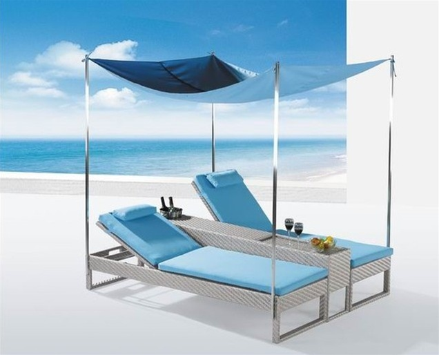 Bahama patio chaise lounge w canopy outdoor furniture for Chaise lounge canopy