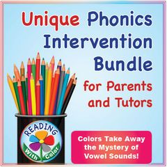 """15 Multi-Sensory Phonics Resources for Parents and Tutors! Enter for your chance to win. Reading With Color: Unique Phonics Intervention Bundle for Parents and Tutors  (372 pages) from Reading With Color on TeachersNotebook.com (Ends on on 05-26-2017) Get a concise guide to using color hints, rhyming word lists, 20 sequenced sets of """"Vowel Twist"""" cards for learning sounds, mini books, thematic word/picture card sets, and more (372 pages). Use fewer worksheets. Take a look!."""