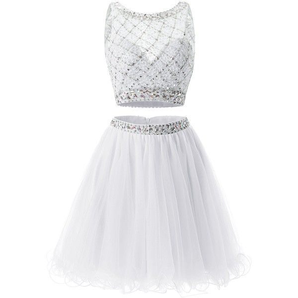 Bridesmay Short Tulle Homecoming Dress Beaded Two Piece Bridesmaid... (1.040 ARS) ❤ liked on Polyvore featuring dresses, white dress, short cocktail dresses, prom dresses, short homecoming dresses and short prom dresses