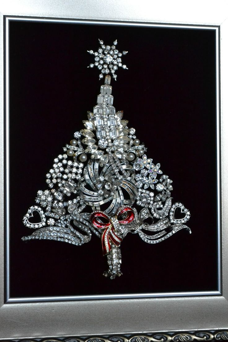 Vintage Jewelry Framed Christmas Tree OOAK Art Dripping with Icy Rhinestones | eBay