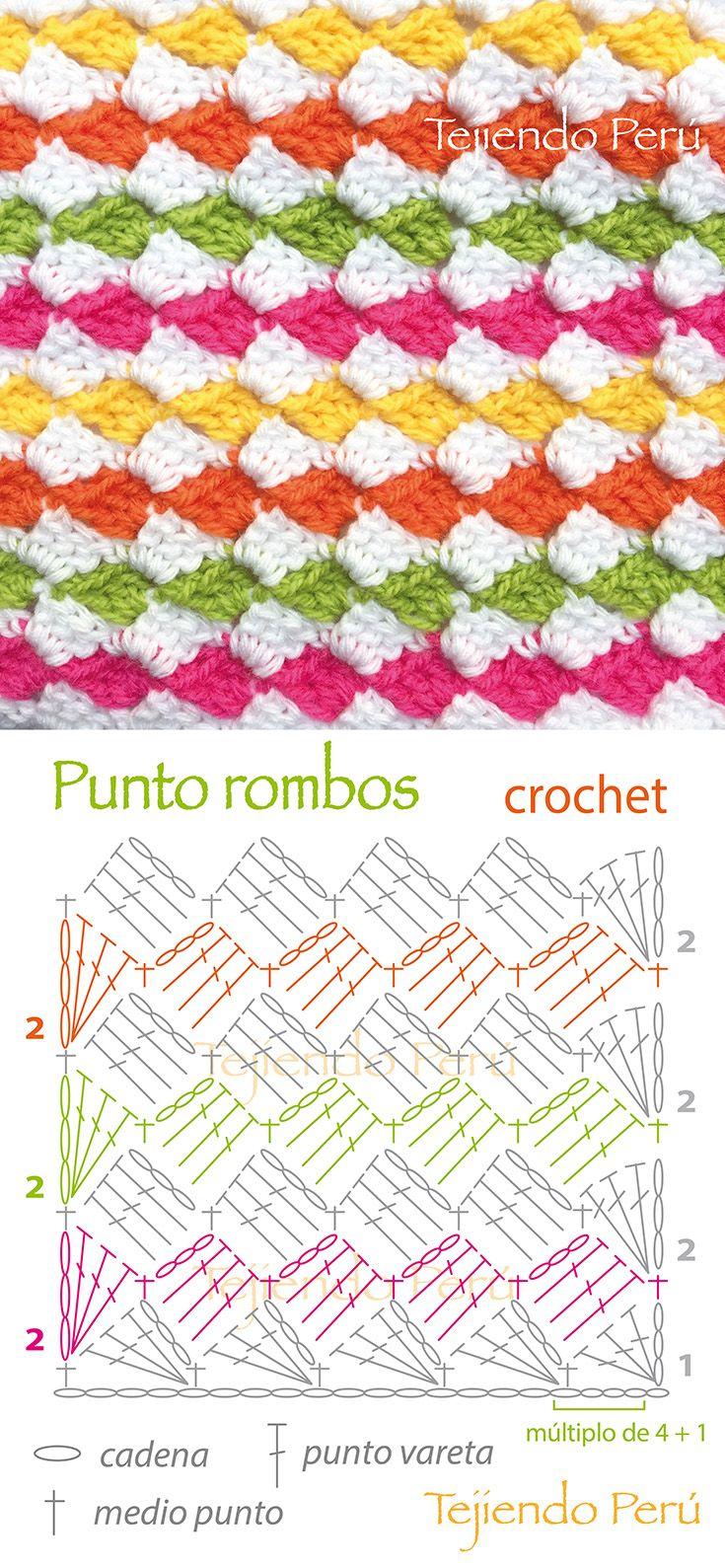 Crochet: diagrama del punto rombos o diamantes de colores! También tiene video tutorial del paso a paso :)