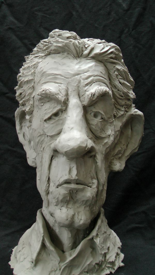 Resin Composite #sculpture by #sculptor Richard Austin titled: 'Bust of Sir Ian McKellen (Caricature Portrait statue)'. #RichardAustin