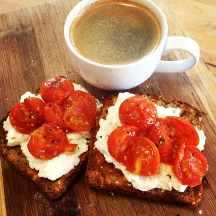 Love the bright colours of this breakfast - @Michelle Flynn Flynn Bridges Ricotta Toast with Roast Tomatoes - delicious!