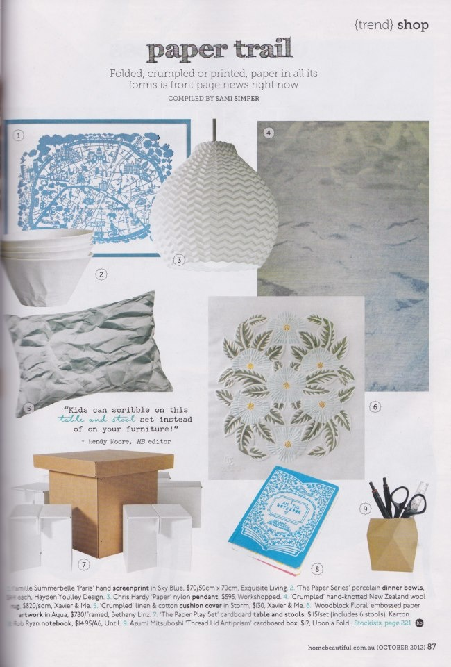 Paper Series featured in Home Beautiful, 2012