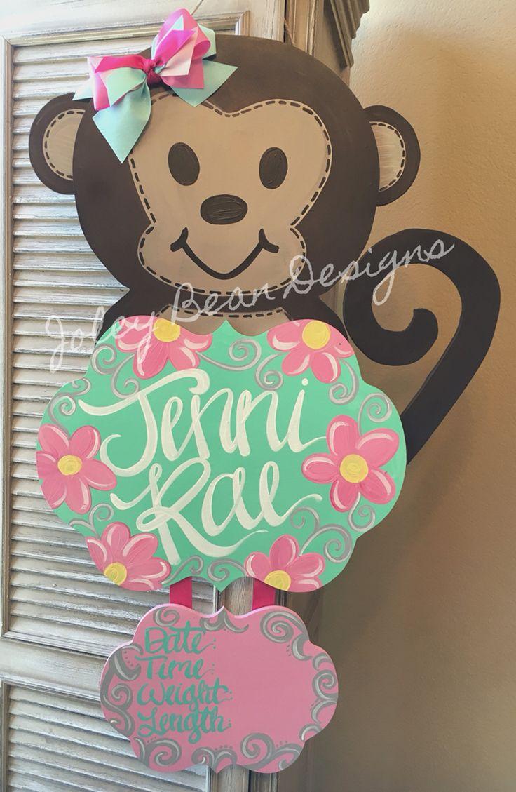 Joley Bean Designs, by Kassidy, monkey baby door hanger, baby girl, nursery , hospital door hanger