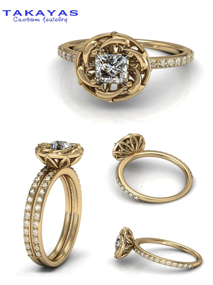 14k Gold Or Platinum Custom Dolphin Wedding Set By Takayas Custom Jewelry