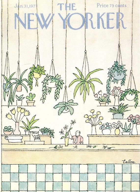 New Yorker cover by Robert Tallon shows busy man in florist shop 1/31/77 Ready to frame