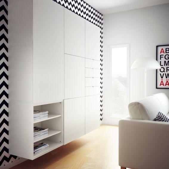 Combineer grafische printen met een strakke BESTÅ VARA wandkast voor een modern interieur. #IKEA