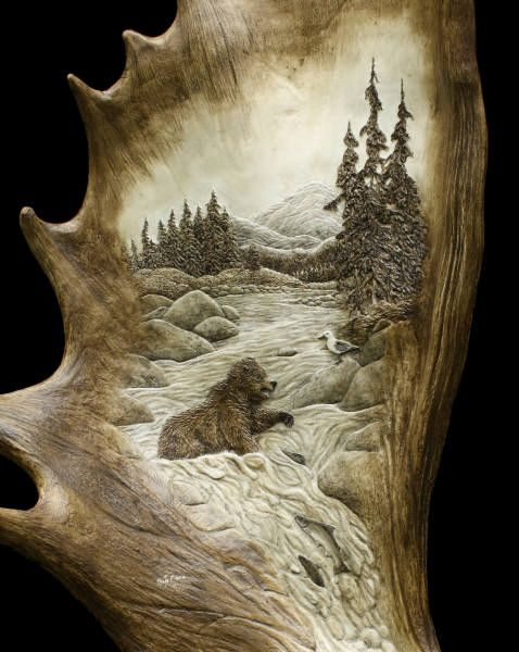 """Salmon Run"" moose antler carving palm detail"