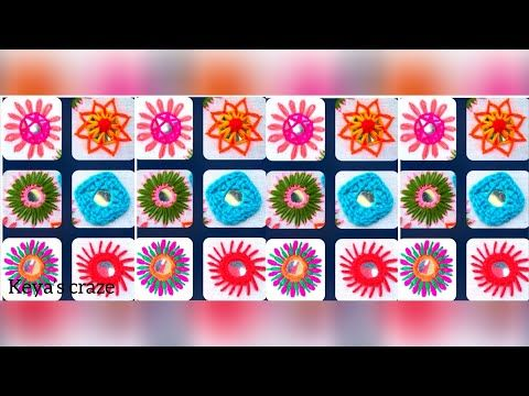 6 Different types of mirror work / Mirror hand embroidery   Shesha hand embroidery   2018 - YouTube